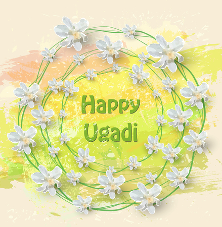 Happy Ugadi Card with text and white flowers on color background, vector illustration. Illustration