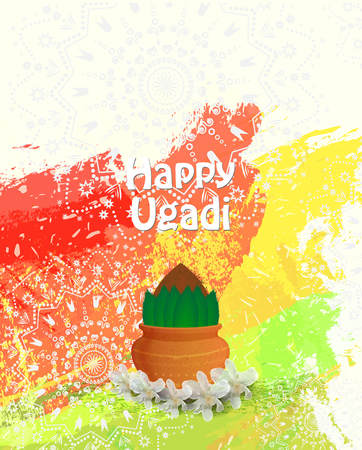 happy ugadi card template  Vector illustration.