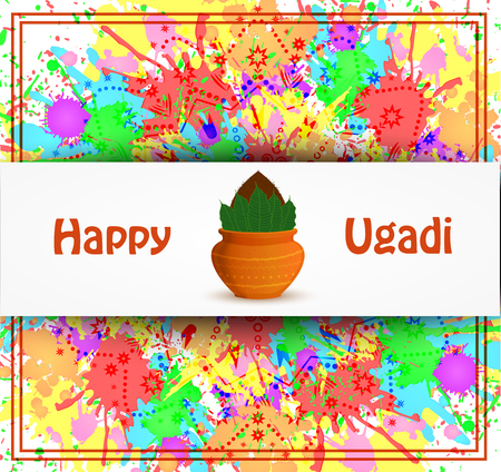 Happy Ugadi card with text in white frame on color background, vector illustration.