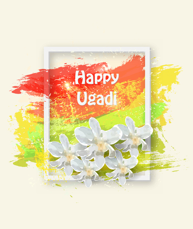 Happy Ugadi card with text and flowers in white frame on color background, vector illustration.