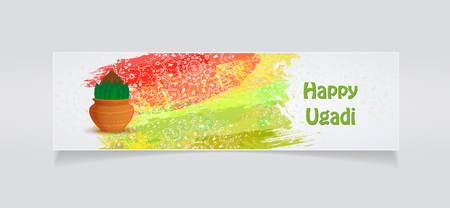 Happy Ugadi flyer template Vector illustration.