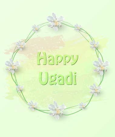 happy ugadi 3D card template with flowers Vector illustration.