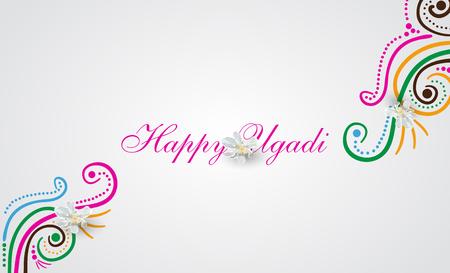 Happy Ugadi doodle card Vector illustration. Illusztráció