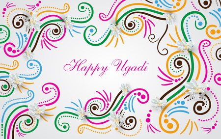 Happy Ugadi Festival with text  on color background, vector illustration. Illustration