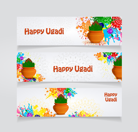 Happy Ugadi flyer template Vector illustration.