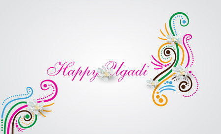Happy Ugadi Festival. Indian Fest Party celebration. Spring New Year. Watercolor background with mandala. Template with text for creative flyer, banner, greeting card, poster. Vector illustration