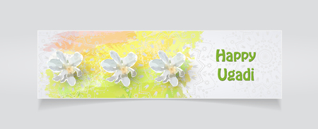 Happy Ugadi flyer template on gray background, Vector illustration.