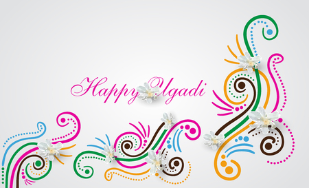 Happy Ugadi Festival. Indian Fest Party celebration. Spring New Year. Watercolor background with mandala. Template with text for creative flyer, banner, greeting card, poster. Vector illustration Banque d'images - 96803594