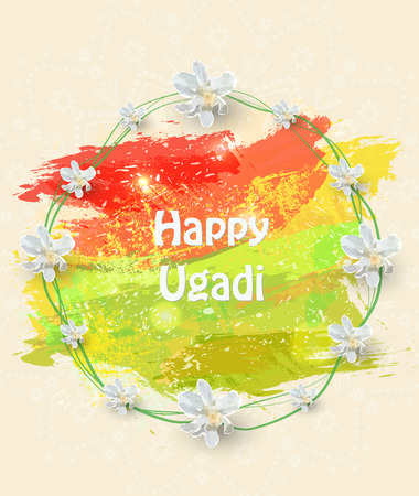happy ugadi flyer with white flowers on color background, Vector illustration.