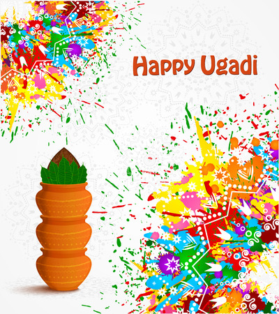 Happy Ugadi holiday poster template with color splashes, Vector illustration.