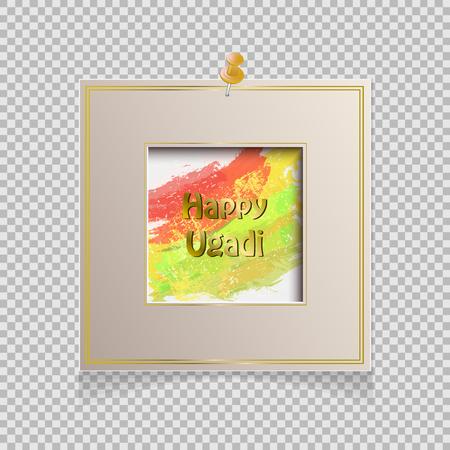 Happy Ugadi card with frame on transparent background, Vector illustration.