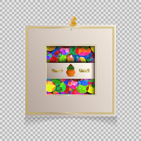 Happy Ugadi 3D flyer with frame on transparent background, Vector illustration.