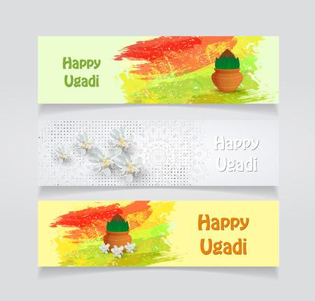 Happy Ugadi holiday flyer template on gray background, Vector illustration. Illusztráció
