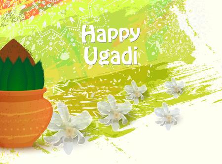 Happy Ugadi card template Vector illustration.