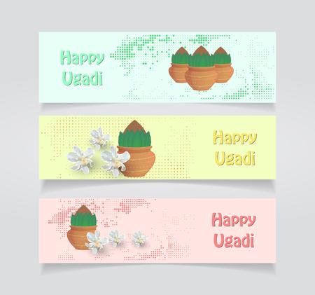 Happy Ugadi card vector illustration set