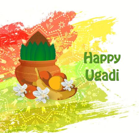 Happy Ugadi card for celebration and festival.