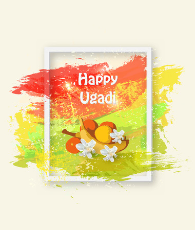 Happy Ugadi Festival with festival ornaments and bright color background.