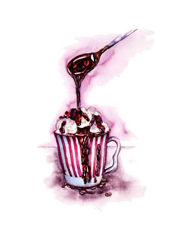 Watercolor illustration cup of Ice cream doused with chocolate out of a spoon. Sketch coffee, cocktail, latte, cappuccino, whipped cream, hot chocolate, marshmallows. For postcard, invitation, menu