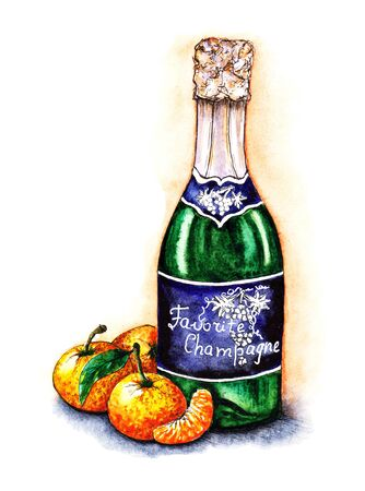 Watercolor festive illustration a bottle of champagne and tangerines.  Food sketching mandarins for design, print, menu, New Year card, invitation. Traditional foodstuffs of an alcoholic drink.