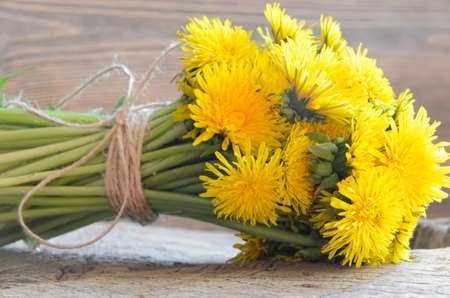 backdrop grungy: dandelion, rough, table, nobody, natural, floral, spring, brown, flower, yellow, holiday, summer, blossom, old, wildflower, hardwood, plank, wood, retro, backdrop, texture, desk, grungy, design, bouquet, plant, rural, country, wooden, vintage, background, Stock Photo