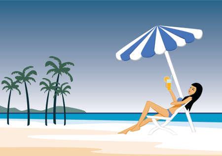 The girl on the beach  Illustration