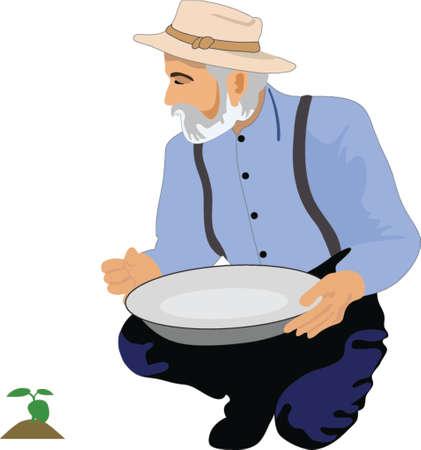 watering: De oude man drinkinstallaties een plant
