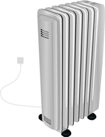 calentador: Calentador de aceite el�ctrico para el espacio residencial y de oficinas aisladas sobre un fondo blanco
