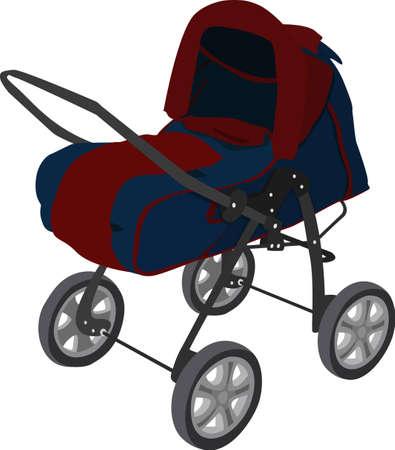 The modern pram red-blue