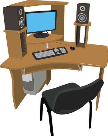 audio electronics: A place for work and leisure  Wooden table with shelves for DVD discs on which there is a computer and speakers on a white background