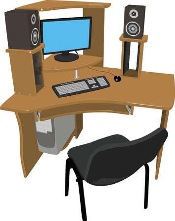 wooden work: Un luogo per il lavoro e il tempo libero tavolo in legno con ripiani per i dischi DVD su cui vi � un computer e gli altoparlanti su uno sfondo bianco