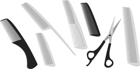 A set used by barbers and hair stylists  Hairdressing scissors and combs are many different on a white background