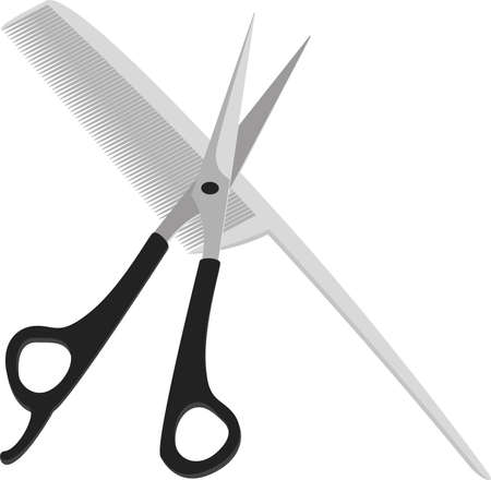 A set used by barbers and hair stylists  Scissors are crosswise to the comb on a white background