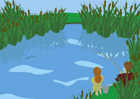 A young boy and girl fishing at the lake overgrown with reeds  Illustration