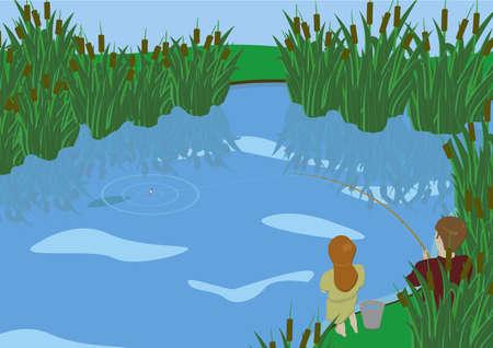 canne: Un ragazzo e una ragazza di pesca al lago coperto di canne