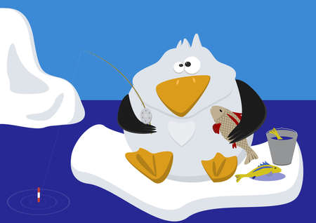 pinguin: Funny penguin rod catches the fish sitting on ice floe. In the background is the skyline. Illustration