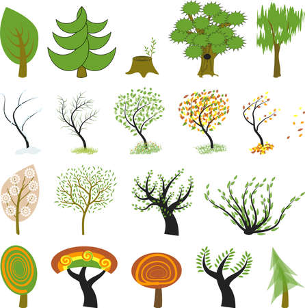19 different kinds of tree include green trees, cartoon tree, Sakura tree, bush, and other. One tree is presented in different seasons: winter, spring, summer, autumn.