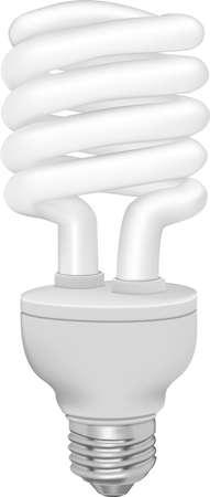 할로겐: 흰색 배경에 에너지 절약 형광 전구. 사진 - 진짜. 일러스트
