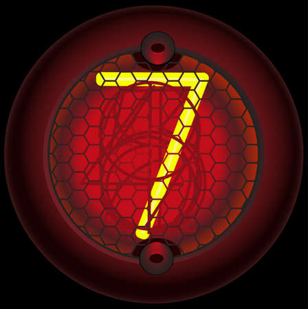 Digit 7 (seven). Nixie tube indicator of the numbers of retro style isolated on black Vector