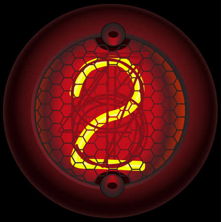 scoreboard: Digit 2 (two). Nixie tube indicator of the numbers of retro style isolated on black