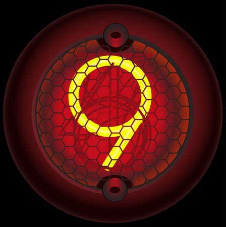 Digit 9 (nine). Nixie tube indicator of the numbers of retro style isolated on black