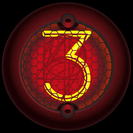 Digit 3 (three). Nixie tube indicator of the numbers of retro style isolated on black