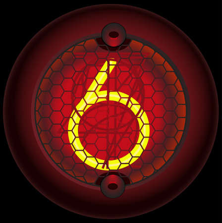 triode: Digit 6 (six). Nixie tube indicator of the numbers of retro style isolated on black