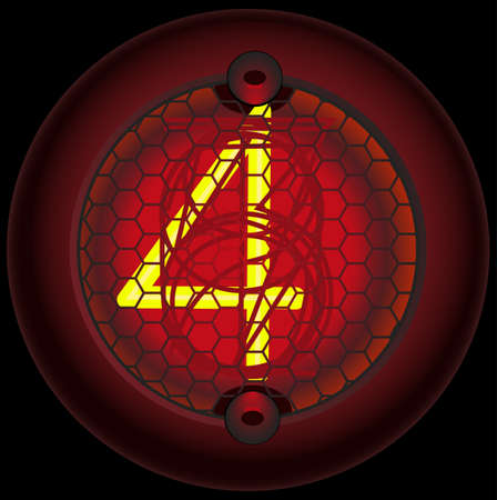 triode: Digit 4 (four). Nixie tube indicator of the numbers of retro style isolated on black