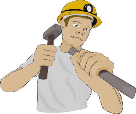 Builder o el minero en un casco con una lámpara funciona como un martillo y un cincel en un fondo blanco Ilustración de vector
