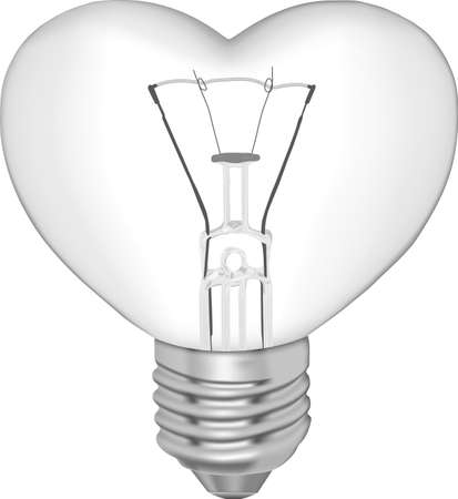 Bulb in the form of heart on a white background  Illustration