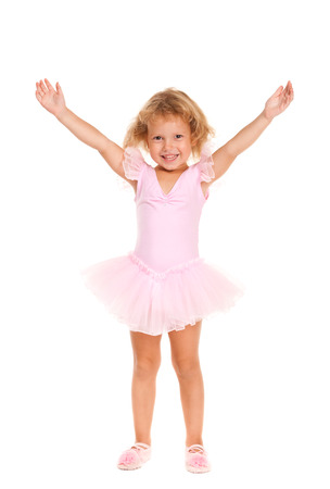 3 4 length: A young girl ballet dancer in a pink lace tutu. Isolated on white background. Stock Photo