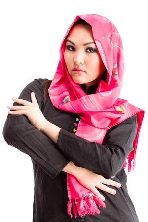 pakistani ethnicity: Closeup of beautiful Arabic woman wearing a head scarf.