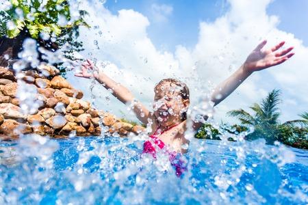 fun day: Little Girl in Swimming Pool.