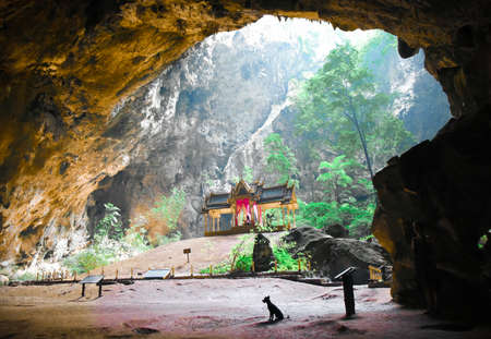 A panoramic view of a throne located in a cave inside the Khao Sam Roi Yot national park (Thailand) Stock Photo