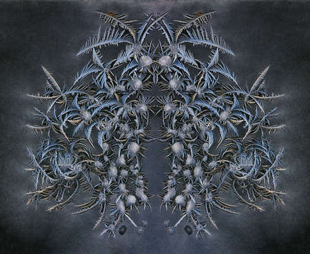 Macro image of ice crystal designs in window frost - composite mirror image